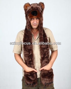 0aaee0ad High Quality Animal Hat With Claws Paws Faux Fur Long Bear Hat - Buy ...