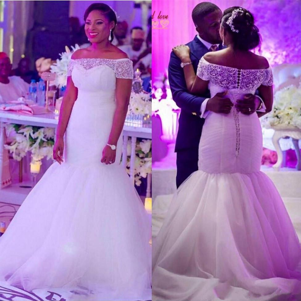 ON3043 nueva sirena vestidos de novia fuera del hombro acanalado ...