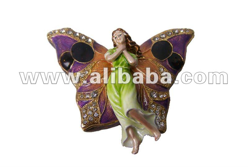 Butterfly fairy figurines bejeweled trinket boxes metal alloy jewelry box collectibles Christmas gifts vintage box