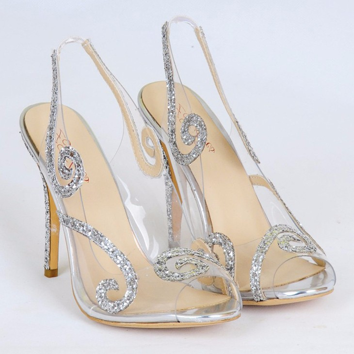 2017 european fashion China factory ODM glitter upper transparent high heel shoes female slingbacks sandals