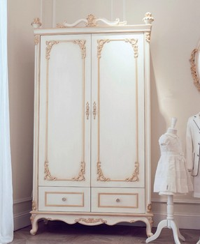 Bisini French Style Luxury Large Carved Armoire In Ivory White U0026 Gold Color  (BF01