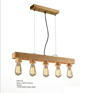 Modern Home Indoor Lighting Wooden Frame Fancy Industrial Hanging Pendant Light