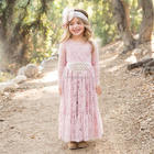 Girl's new style party lace flower dress and long sleeve embroidered jewels in the waist princess dress