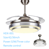 Stainless steel hanger rod commercial led ceiling fan light 36w with remote