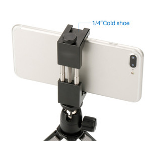 65-95mm Universal Metal Mobile Phone mount holder Clamp with hot shoe for Self-timer photography tripod