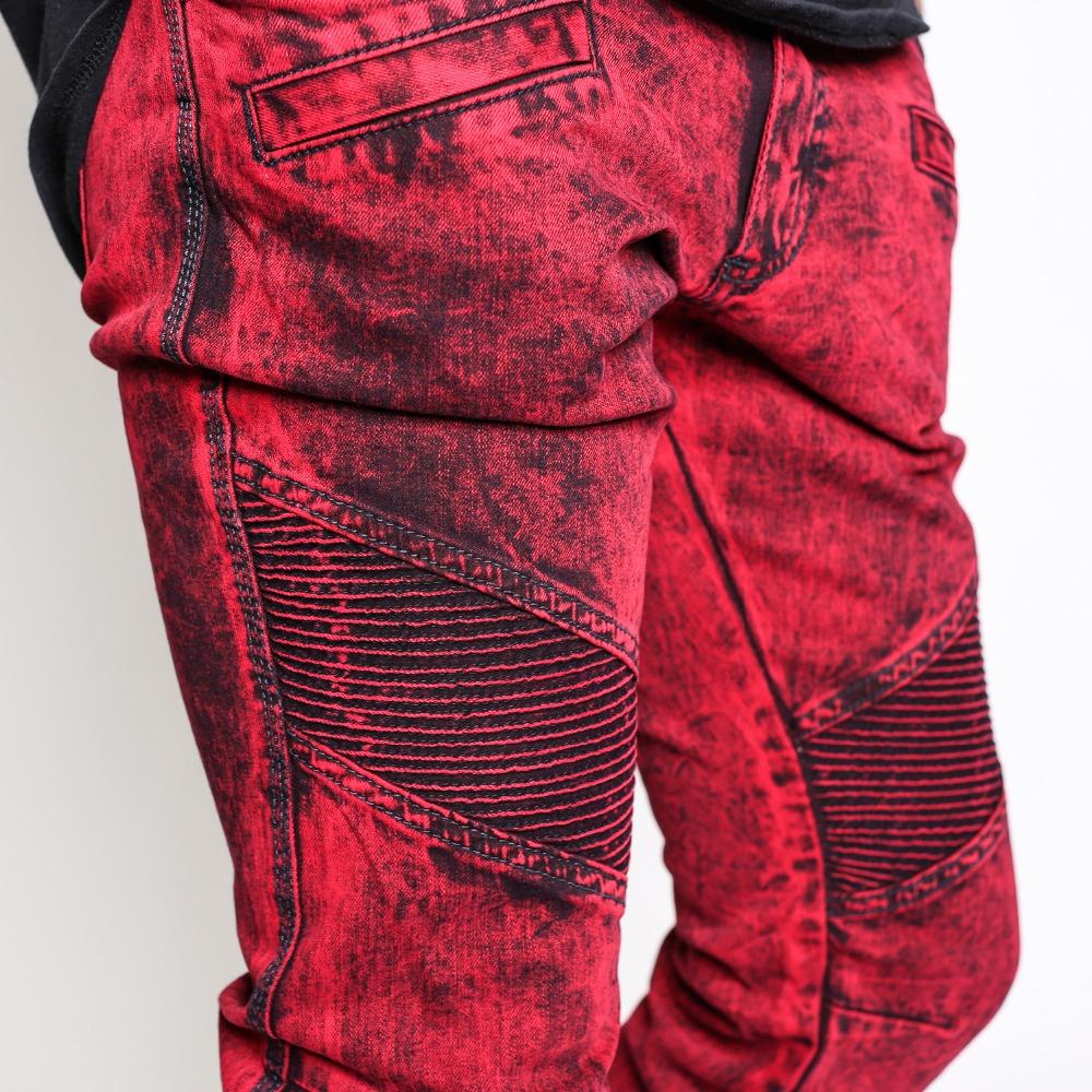New Fashion Red Slim Biker Jeans For Mans Moto Denim Jeans Pants ...