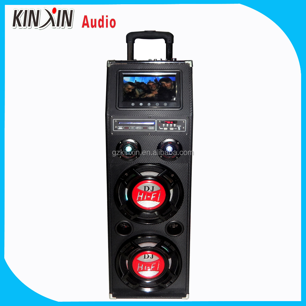 double 10inch professional HiFi ibastek Karaoke trolley active outdoor speaker with LCD monitor and DVD function
