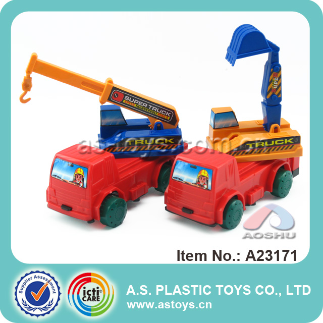 newest kids play mini road construction cheap plastic toy trucks for wholesale