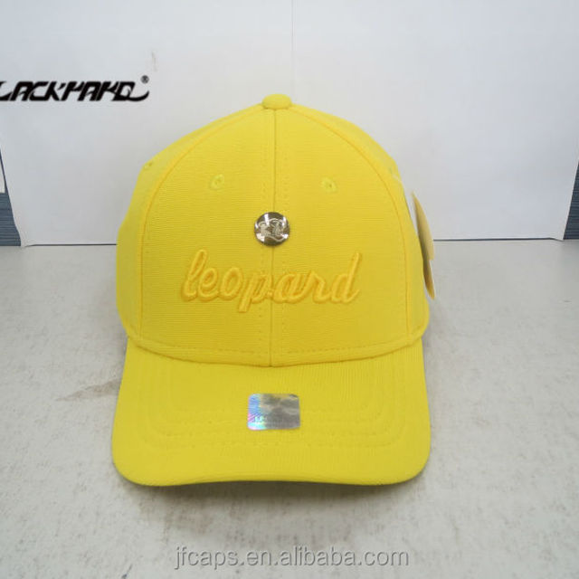 yellow metal applique and embroidery sport baseball football customized  fashion high quality caps made in jiangsu 8a60e020204