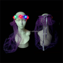 Wedding and Party Favor Cheap LED Rainbow Flower Crown with Veil as a Gift for Girl