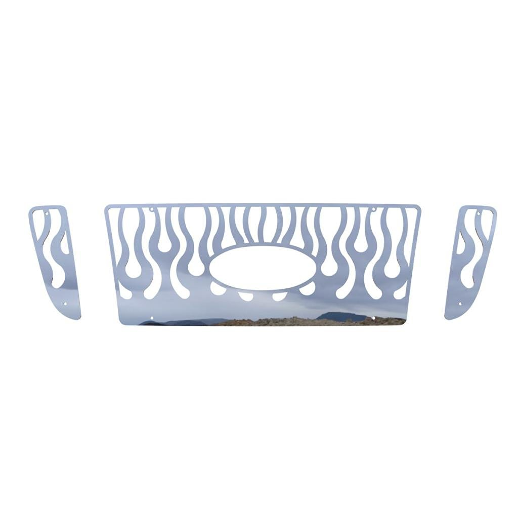 Ferreus Industries Polished Stainless Vertical Flame Grille Grill Insert Trim fits 2004-2005 Ford Ranger with Factory Honeycomb Style Grill TRK-151-06