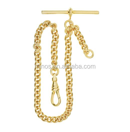 Stainless Steel Gold Single Albert T Bar Pocket Watch Chain - Fashion Accessory Chain