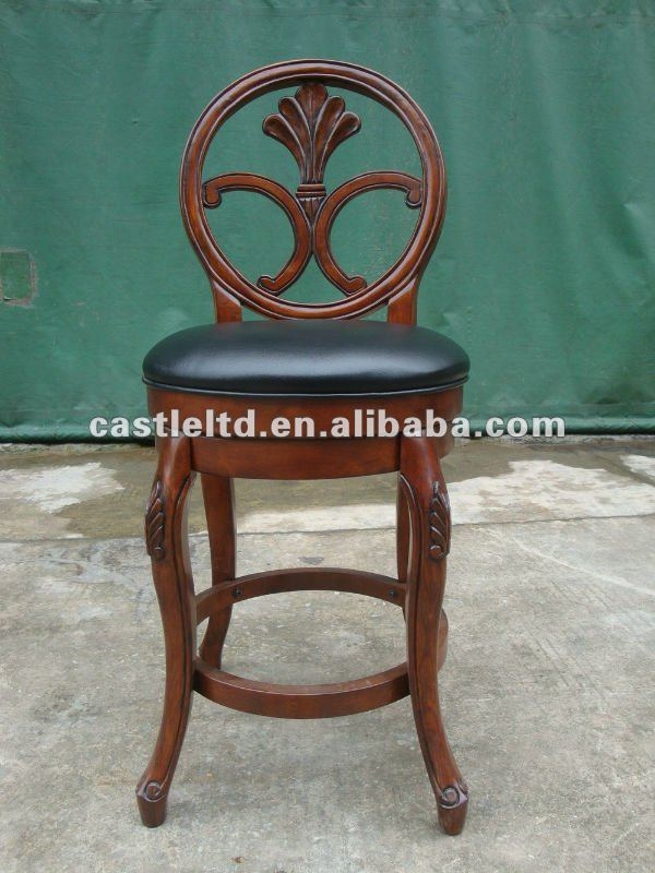 Antique Solid Wood Carved Bar Stool,Swivel Back Barstool ...