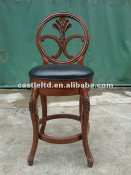 antique solid wood carved bar stoolswivel back barstoolupholstered wooden stool