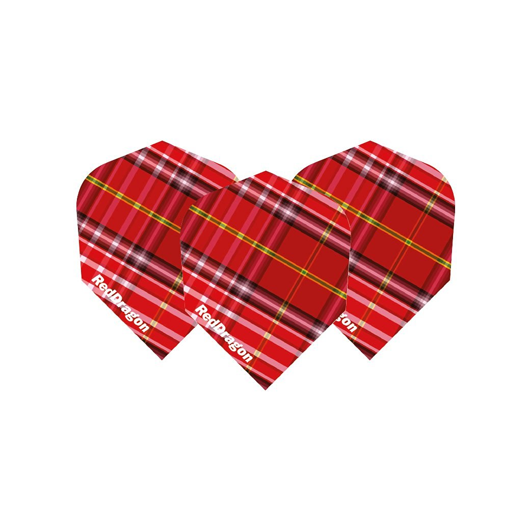Tartan Standard Dart Flights - 5 sets per pack (15 flights in total) & Red Dragon Checkout Card