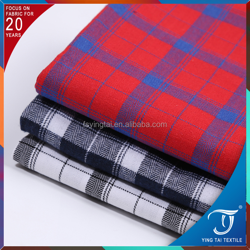 Shrink-resistance Big check pattern 100%cotton yarn dyed twill brush fabric for shirt skirt
