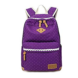 64ea5300f0 Backpack - SODIAL(R)Ethnic Women Backpack for School Teenagers Girls  Vintage Stylish Ladies Bag Backpack Female Dotted Printing Purple