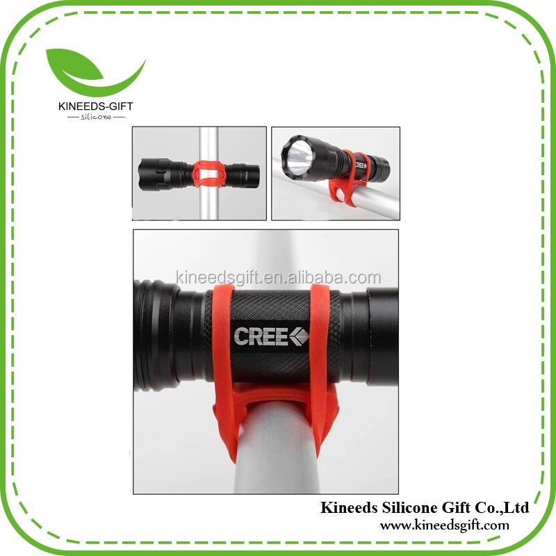 Black Bike Silicone Elastic Band Flashlight Phone Strap Ribbon Mount Holder