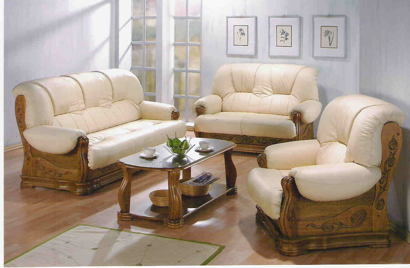 Beau Wood + Leather Sofa Set   Buy Leather Sofa Product On Alibaba.com