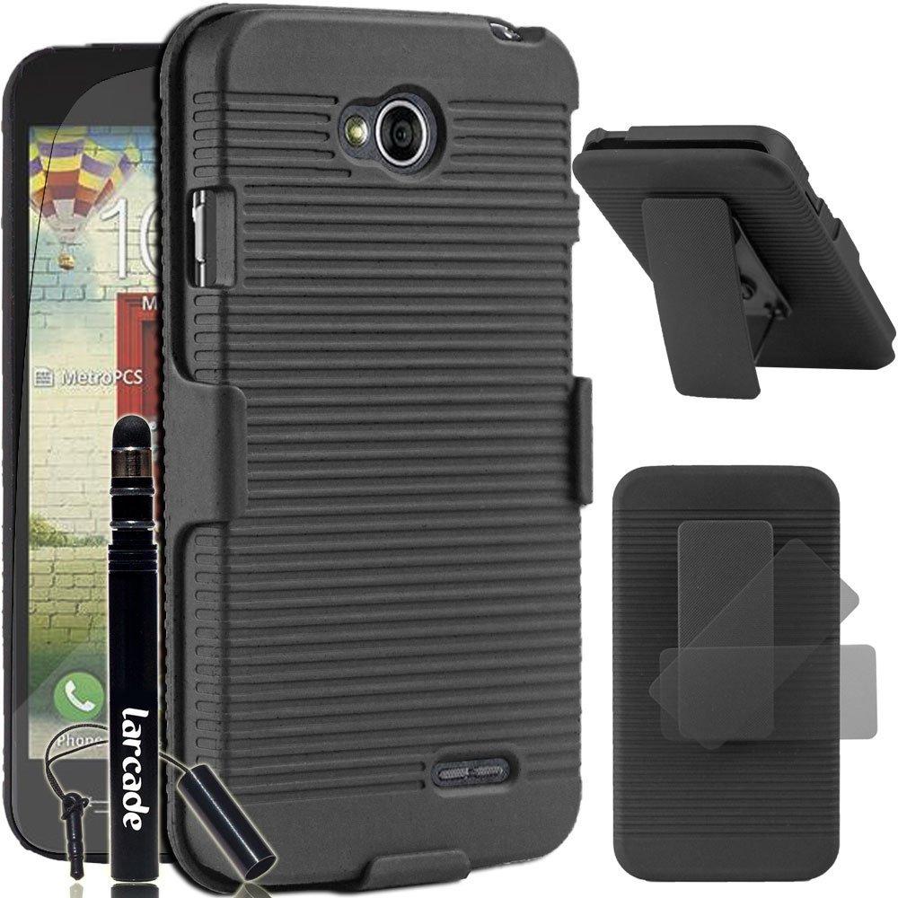 LARCADE (TM) 3 in 1 Bundle - LG Optimus L70 (MetroPCS) / Optimus Exceed II (Verizon) / Dual D325 - Shell Combo Holster Case with Belt Clip - Black (Include Premium Screen Protector & Sensitive Cap Stylus Pen by LARCADE)