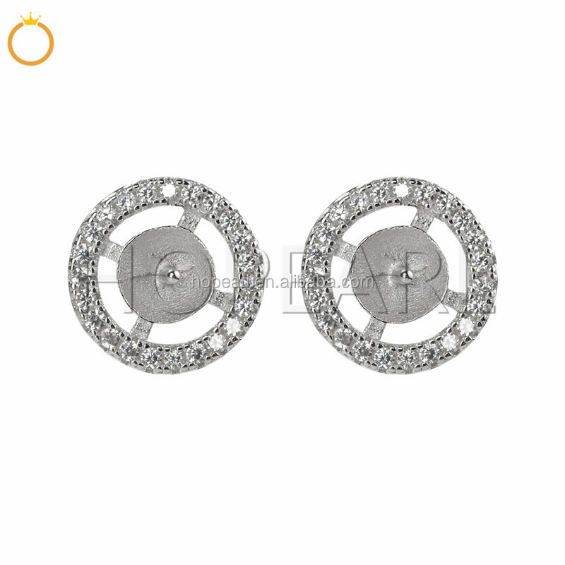 SSE252 Sterling 925 Silver Circled Cubic Zirconia Stud Earring Pearl Mounts