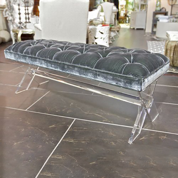 Modern Acrylic Piano Bench Soft Cushion Lucite Chair Bedside Bench With Clear legs