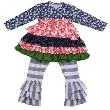 New arrival ruffle pants fall kids clothing Toddler baby girl outfit wholesale children boutique clothing