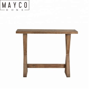 Mayco Antique Wood Carved Console Table with Nature Color for Living Room