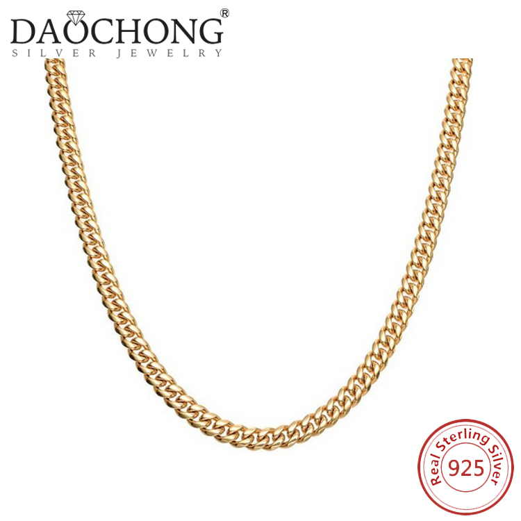 Custom Design fine jewelry Pure Sterling Silver gold plated man gold chain price