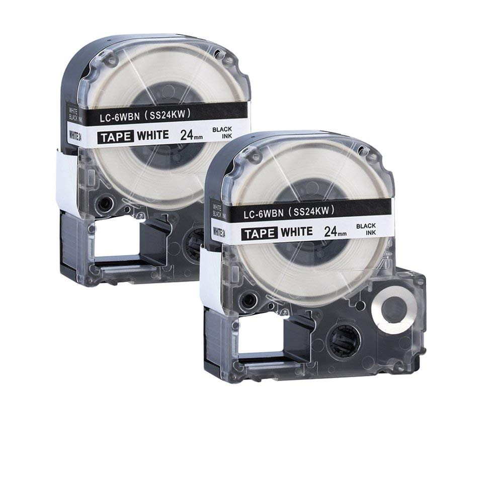 2 Pack LC-6WBN9 (SS24KW) Black on White 1/1 '' X 26.2ft (24mm x 8m) Label Tape Compatible for Epson LM-700 LW-900P