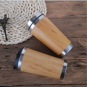 2018 New Arrival eco friendly stainless steel bamboo mugs wood travel bottle custom coffee mug