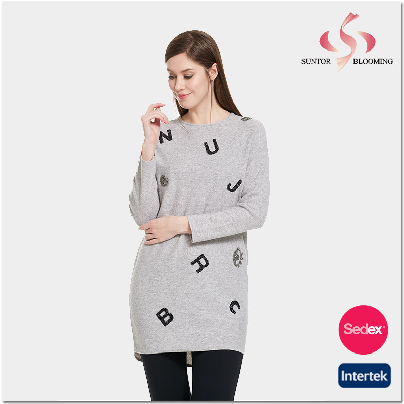 Embrodiery and patch new fashion long sleeve t-shirt ladies dress