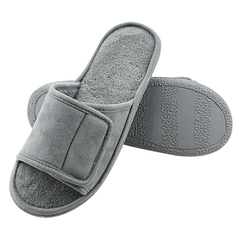 cd3ad8b4892dc0 Get Quotations · Magtoe Men Velcro Indoor Slippers Faux Suede Adjustable  Open Toe Slipper
