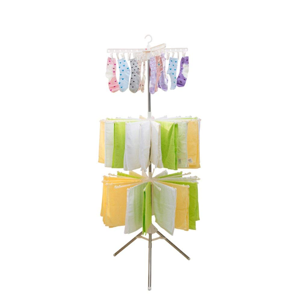 Rotating clothes rack/folding/balcony stainless steel drying rack/towel rack/diaper racks(This product does not contain towels and socks in the picture)