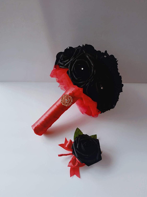 black bouquet black bridesmaid bouquet gothic bouquet goth bouquet black and red bouquet red and black bouquet brooch bouquet rhinestone bouquet alternative bouquet rose gold brooch black rose bouquet