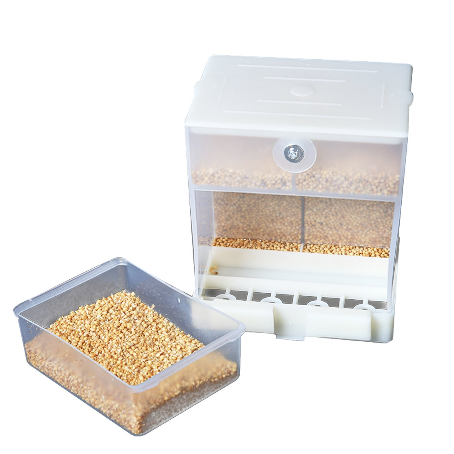 webeauty Parrot Automatic Feeder,No-Mess Bird Feeder,Food Container for Budgerigar Canary Cockatiel Finch