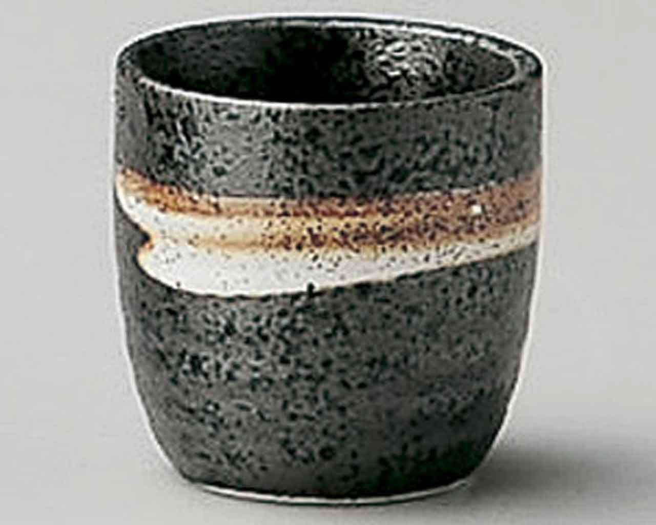 White Blow 1.9inch Set of 5 Sake Cups Black porcelain Made in Japan