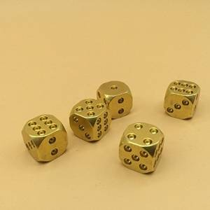 Kootips Set of 5 Classic Brass Dices Set, Solid Polished D6 Cube Dies, Portable Copper Poker Dominoes Tables Board Game Drinking Game Dice
