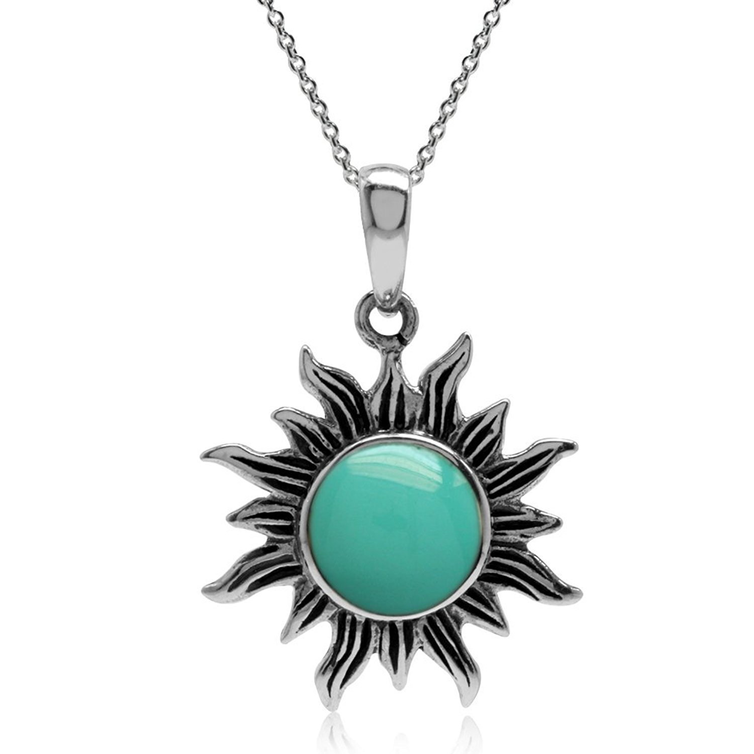 Created Green Turquoise 925 Sterling Silver Sun Ray Inspired Pendant w/ 18 Inch Chain Necklace