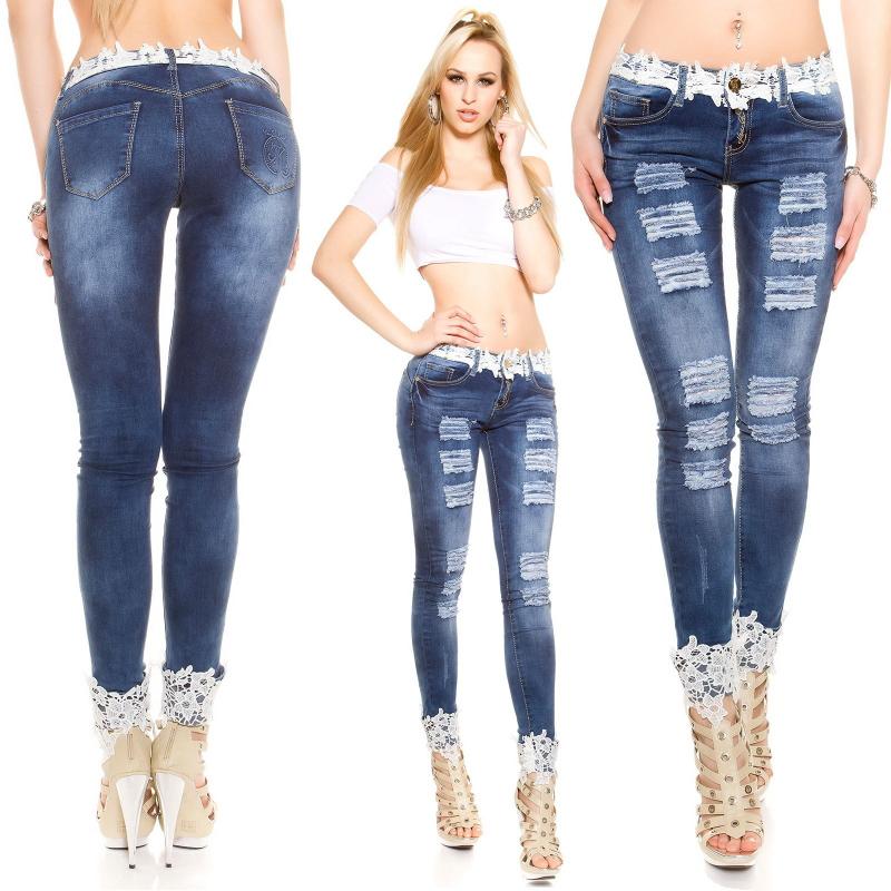b496ab9b9 Mujer Completo Longitud Azul Pantalones Sexy Jeans Agujero - Buy ...