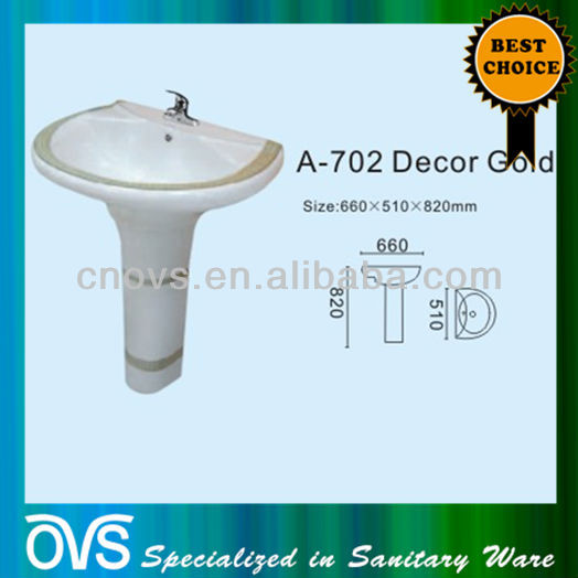 A702 ovs bathroom fancy wash basin pedestal basin decor gold