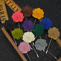 handmade wool flower lapel pins for men,business suit corsage felt flower for men,metal pins for male