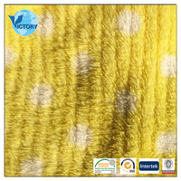 Yellow Stripe Brushed Jacquard 100 Polyester Knitted Cheapsale Coral Fleece Fabric Per Meter