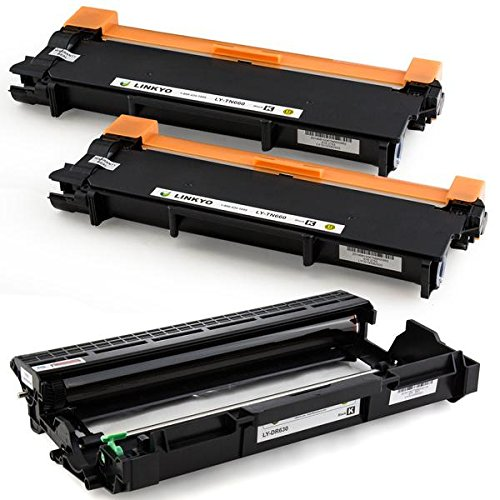 LINKYO Compatible Toner Cartridge and Drum Unit Set Replacement for Brother TN660 TN-660 DR630 DR-630 (2 Toner Cartridges, 1 Drum Unit)