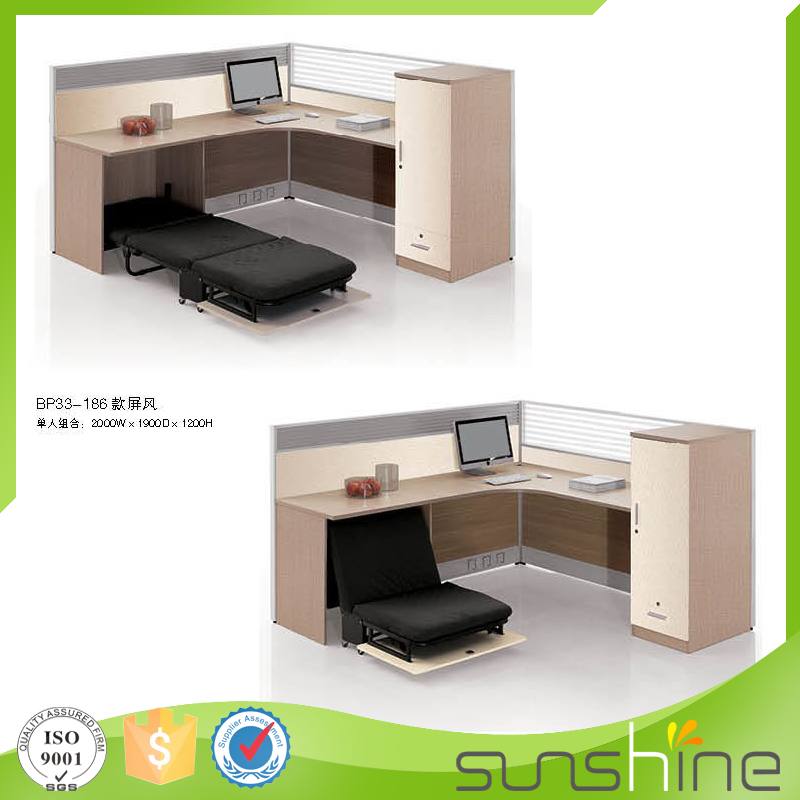 Most popular wood furniture one person workstation with wire management practical design with folded bed