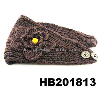 Handmade Knit Crochet Flower Knitted Crochet Headband With Button