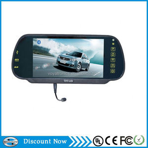 2014 new style 7 inch rear view mirror monitor dual video inputs, V1/V2 selecting with bluetooth FM Mp5 function