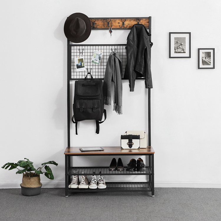 Swell Vasagle Wood Antique Stand Cloth Rack Clothing Rack Industrial 3 Tier Coat Rack With Storage Bench Buy 3 Tier Coat Rack Antique Stand Cloth Pabps2019 Chair Design Images Pabps2019Com