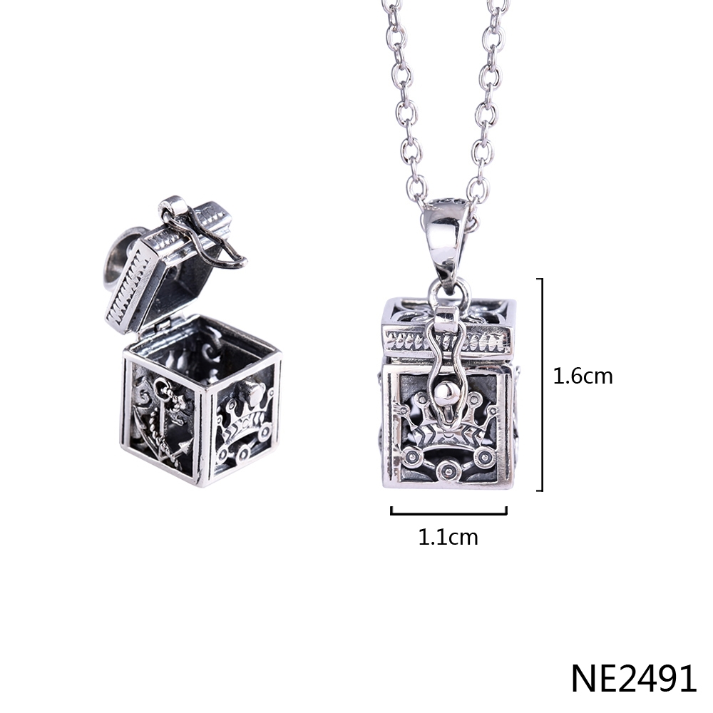 Wholesale custom new design antique silver color zinc alloy square shape open locket