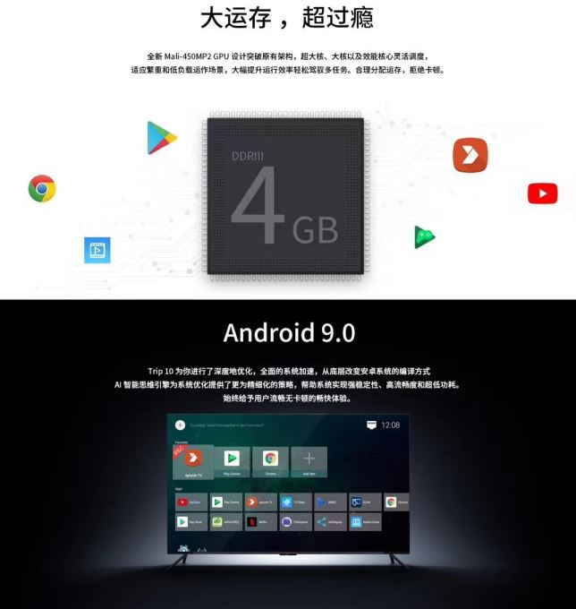 Attractive design Trip 10 RK3318 3D android 9.0 tv box RAM 4gb ROM 32gb 64GB